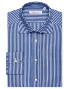 LIGHT BLUE PATTERNED SHIRT WITH BLUE STRIPES, SEMI-FRENCH COLLAR, SLIM FIT NEW FRENCH COLLAR_0