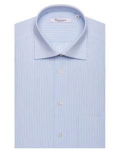 WHITE PATTERNED SHIRT WITH LIGHT BLUE STRIPES, SEMI-FRENCH COLLAR, REGULAR FIT NEW FRENCH COLLAR_0