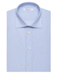 LIGHT BLUE CHEQUERED SHIRT, SEMI-FRENCH COLLAR, REGULAR FIT NEW FRENCH COLLAR_0