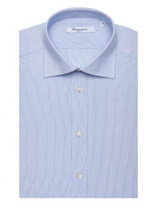 LIGHT BLUE PATTERNED SHIRT WITH THIN STRIPES, SEMI-FRENCH COLLAR, SLIM FIT NEW FRENCH COLLAR_0