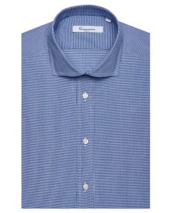 BLUE CHEQUERED SHIRT, NEW FRENCH COLLAR, SLIM FIT 103F - FRENCH_0