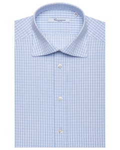 LIGHT BLUE PATTERNED SHIRT, SEMI-FRENCH COLLAR, SLIM FIT NEW FRENCH COLLAR_0