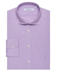 LILAC CHEQUERED SHIRT, NEW FRENCH COLLAR, SLIM FIT 103F - FRENCH_0