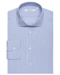 PATTERNED SHIRT WITH BLUE STRIPES, SEMI-FRENCH COLLAR, SLIM FIT 147M - FRENCH_0