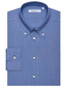 LIGHT BLUE PATTERNED CHEQUERED SHIRT, BUTTON DOWN COLLAR, SLIM FIT 157B - BUTTON DOWN_0