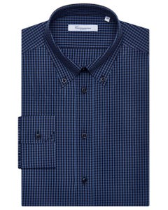 BLUE AND BLACK CHEQUERED SHIRT, BUTTON DOWN COLLAR, SLIM FIT 157B - BUTTON DOWN_0