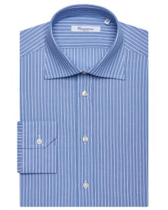 BLUE PATTERNED SHIRT WITH WHITE STRIPES, SEMI-FRENCH COLLAR, SLIM FIT NEW FRENCH COLLAR_0