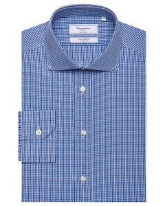 CLASSIC SHIRT WITH WHITE AND BLUE CHECKS, SEMI-FRENCH COLLAR, SLIM FIT 147M - FRENCH_0