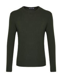 MILITARY GREEN CASHMERE BLEND CREW NECK SWEATER_0