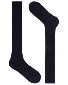 LONG SOCKS, RIBBED FABRIC BLACK_0
